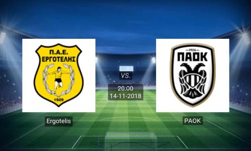 Link Sopcast, Acestream Ergotelis vs PAOK, 20h00 ngày 14/11/2018