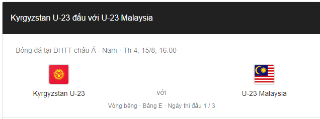 Soi kèo U23 Malaysia vs U23 Kyrgyzstan, 16h00 ngày 10/8